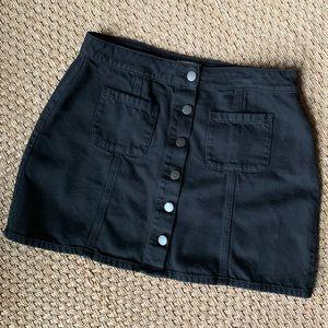 Garage Black Button Up Denim Jean Skirt w/ Pockets